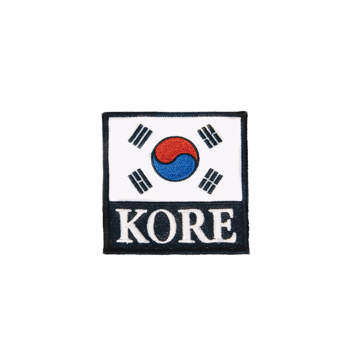 KORE patch showing embroidery of the South Korean flag and KORE embroidery underneath. KORE - Keepin Our Roots Eternal