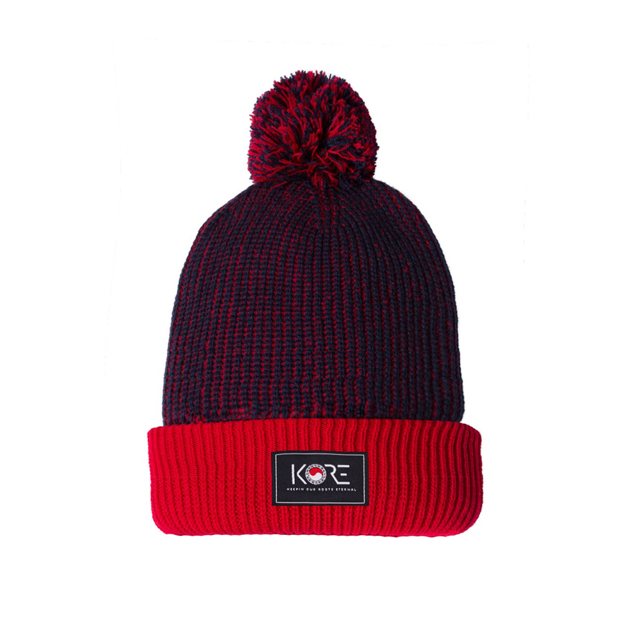 KORE PATCH POM BEANIE (RED/NAVY)