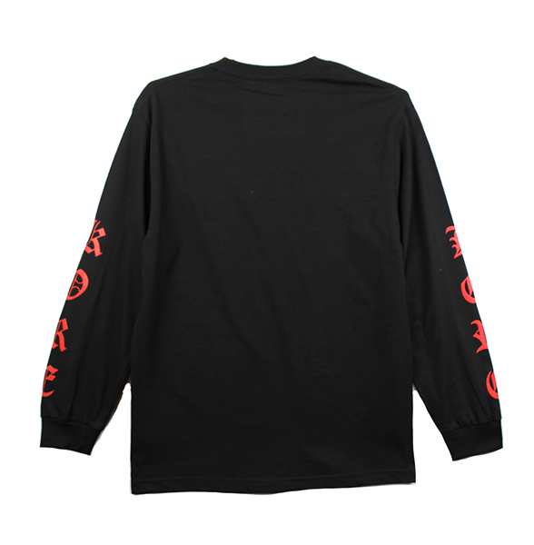 Front view of black long sleeve showing red yin and yang chest print and red KORE sleeve prints on both sides.