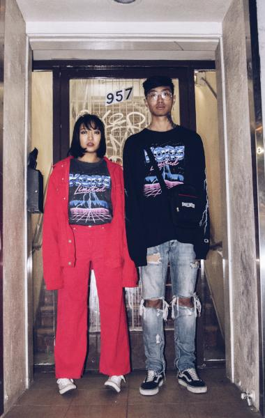 Shot of two models wearing KOR3 Retro and Korelimited shoulder bag.