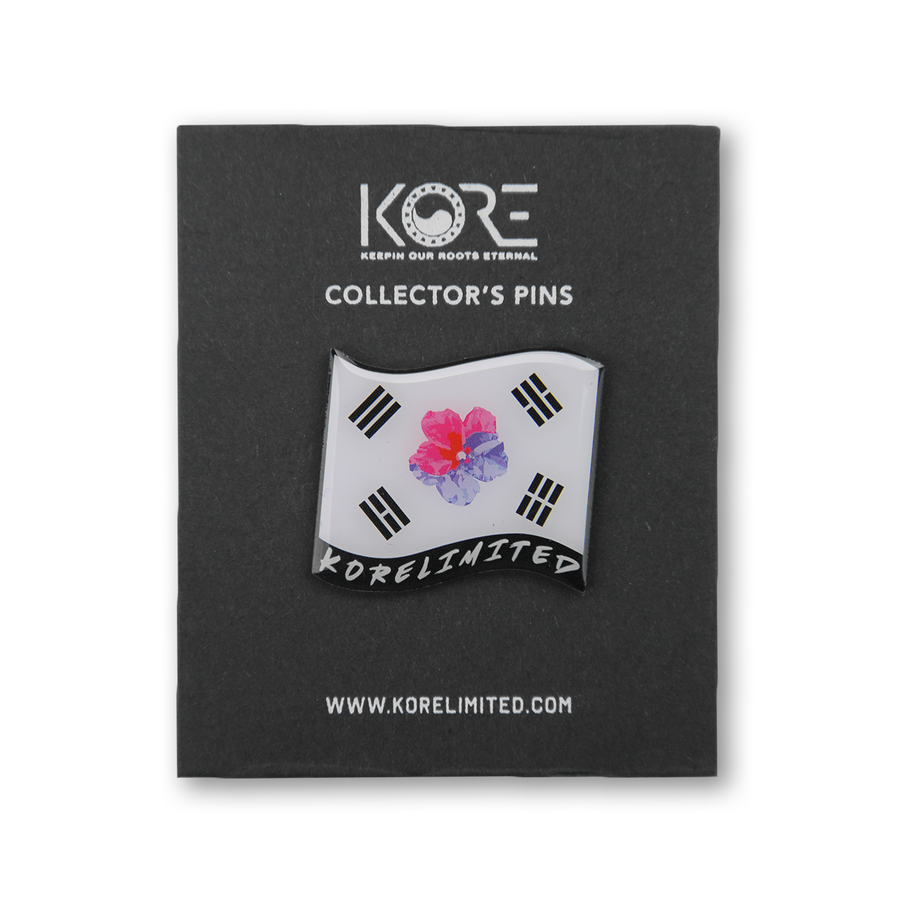 Korean flag pin with mugunghwa flower