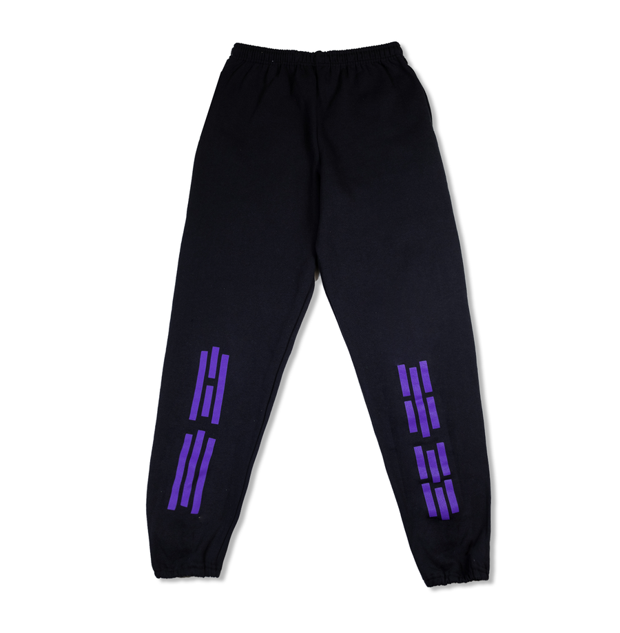 PURPLE STRIPES SWEATPANTS (BLACK)