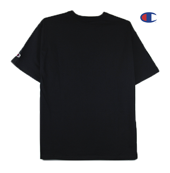 Black view of black Champion jersey tee.
