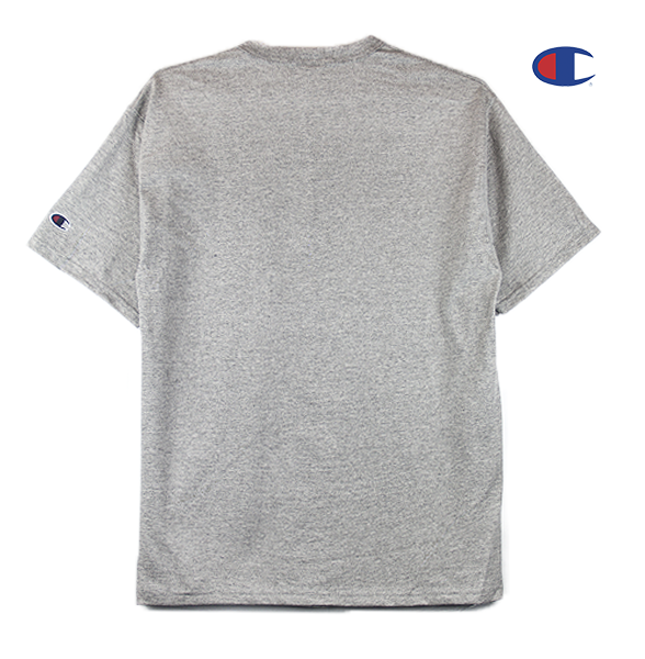 Black view of heather grey Champion jersey tee.