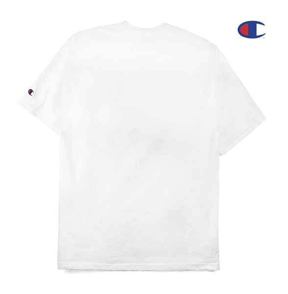 Black view of white Champion jersey tee.