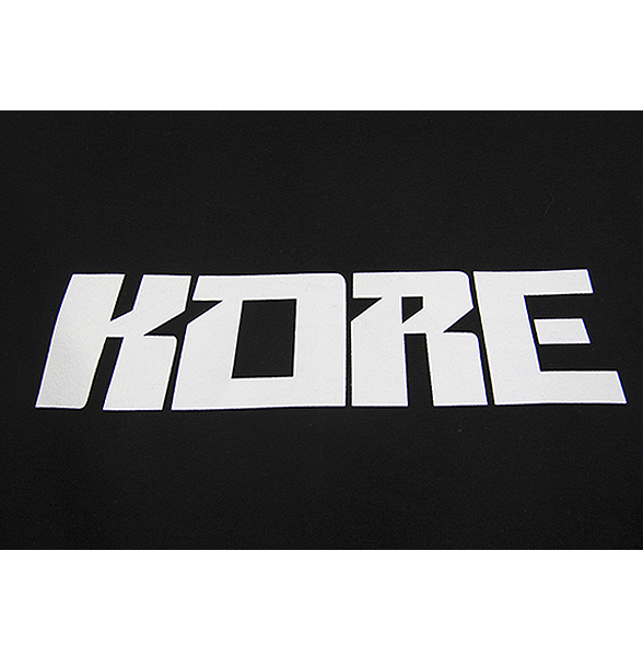 Zoomed view of our black KVRE hoodie with KORE block letters.