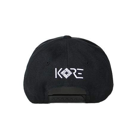 Back view of black curved visor cap with a mungday graphic embroidered on the front.