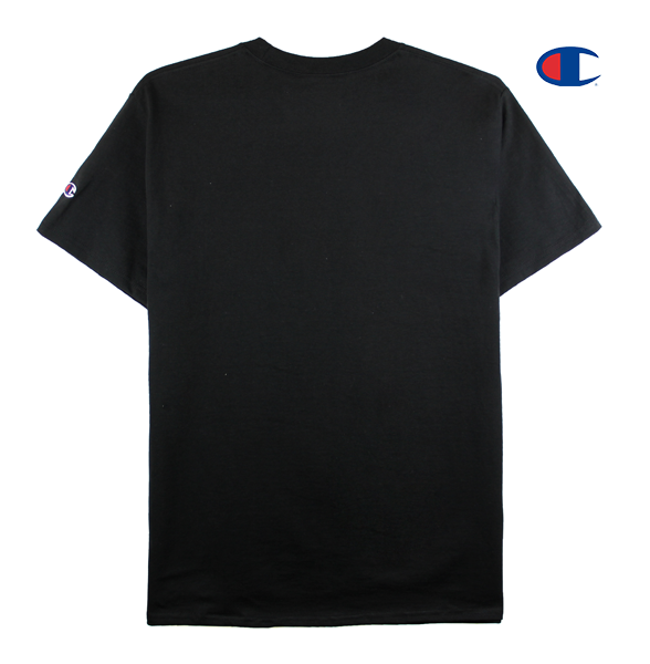 Front view image of black Champion tee with Champion C logo embroidery on the sleeve and KORELIMITED's Peace screen print across the front chest. KORE - Keepin Our Roots Eternal