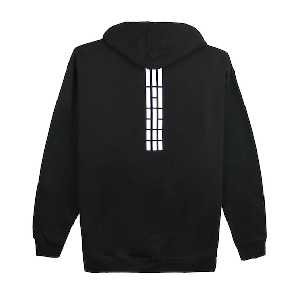 Back view of black pullover hoodie with white Korean flag stripes (3,4,5,6) aligned and printed at the top center of the sweater. KORE Limited - Keepin Our Roots Eternal