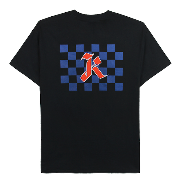 Front view of black tee with centered blue checkers and red k design print. KORE Limited - Keepin Our Roots Eternal