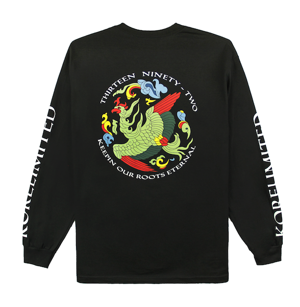 Back view of black long sleeve with Goryeo print on the back. KORE - Keepin Our Roots Eternal