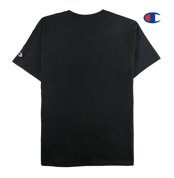 Back view of a black champion tee with won over dollars embroidered on the chest.