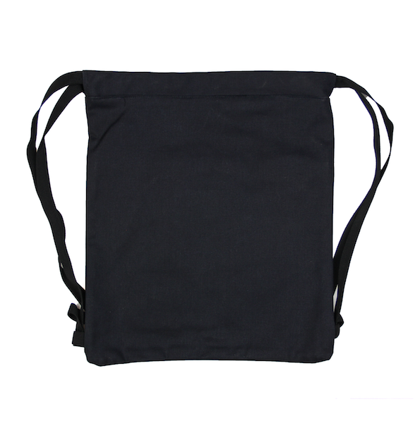 Back view of black drawstring canvas bag with KRLTD embroidered below zipper.
