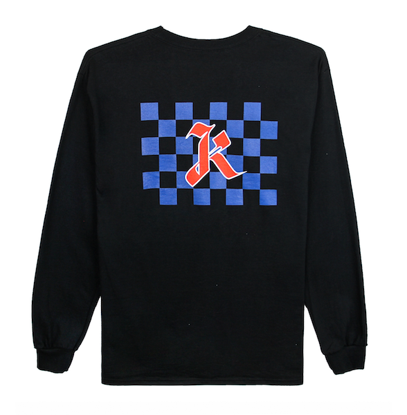 Back view of black long sleeve with centered blue checkers and red k design print. KORE Limited - Keepin Our Roots Eternal