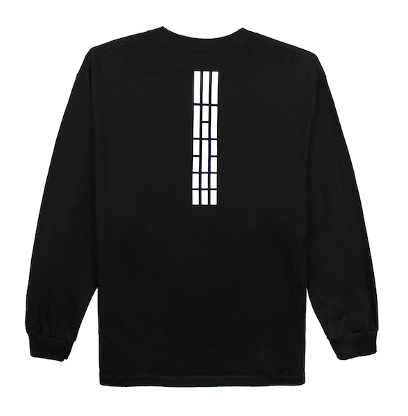 Back view of black long sleeve with white Korean flag stripes (3,4,5,6) aligned and printed at the top center of the shirt. KORE Limited - Keepin Our Roots Eternal