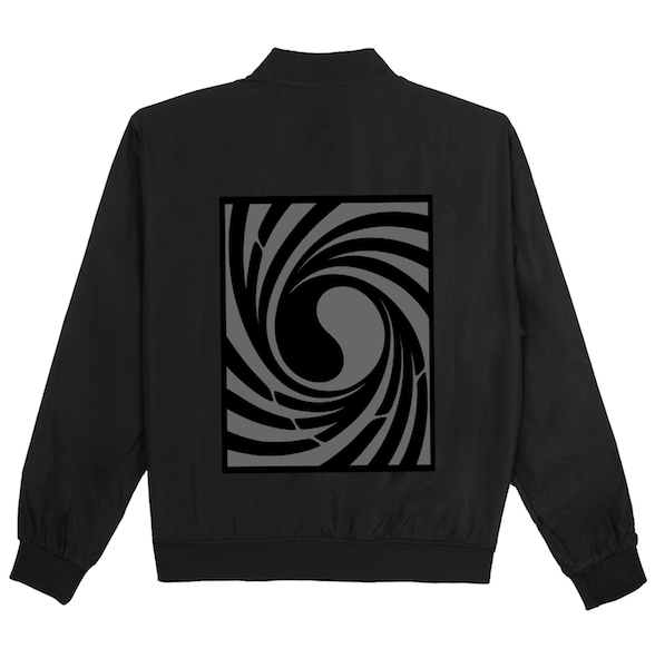 Back view of black Tornado bomber jacket with centered twisted Korean Flag print. KORE Limited - Keepin Our Roots Eternal