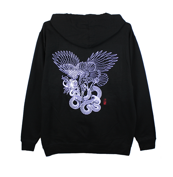 FALCON ZIP UP HOODIE (BLACK)