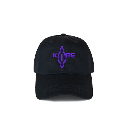 Front view of black curved visor cap with a mungday graphic embroidered on the front.