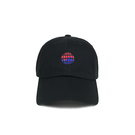 Front view of worldwide embroidered on a black dad hat.