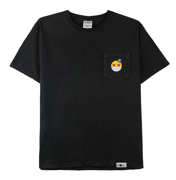 Front view of black ComfortWash pocket tee with cartoon character design on the chest.