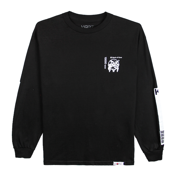 Back view of black long sleeve with centered white Won symbol on the Korean 10,000 won bill. KORE Limited - Keepin Our Roots Eternal