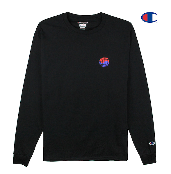Front view of black Champion long sleeve with Champion C logo embroidery on the sleeve and worldwide print on the front chest. KORE - Keepin Our Roots Eternal