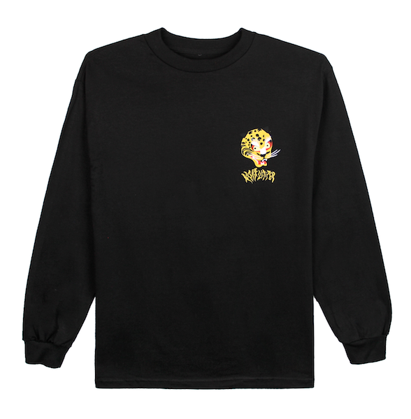 Front view of black long sleeve with a graphic illustration of the Korean tiger's head and KORELIMITED printed underneath it. KORE Limited - Keepin Our Roots Eternal