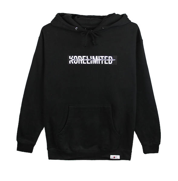 Front view of black pullover hoodie with white KORELIMITED printed on a black box. KORE Limited - Keepin Our Roots Eternal