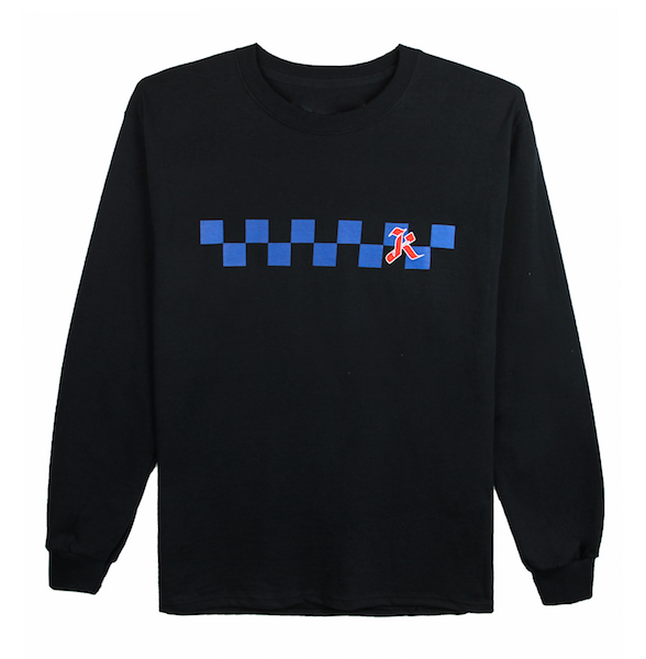 Front view of black long sleeve with centered blue checkers and red k design print. KORE Limited - Keepin Our Roots Eternal