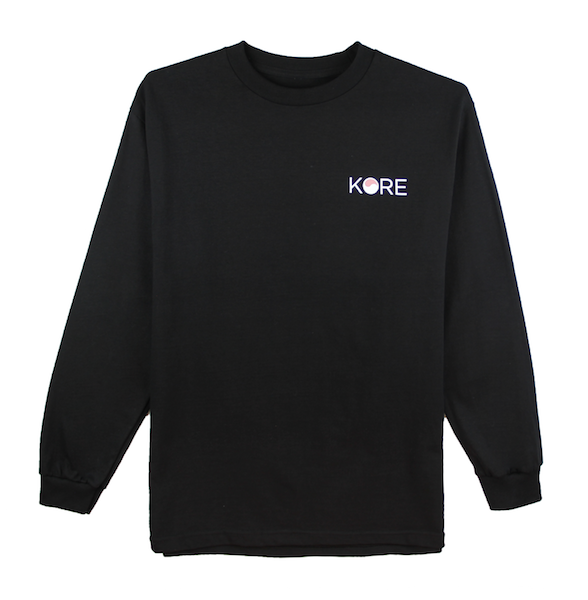 Front view of black long sleeve with KORE logo on the front chest and Stamp design on the back.