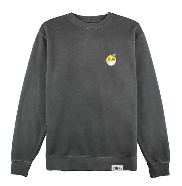 Front view of black ComfortWash crewneck with cartoon character design on the chest.