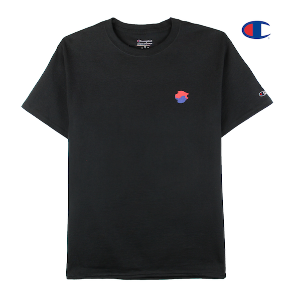 Front view of black tee with made in korea printed on the back and taegeuk printed on the front.