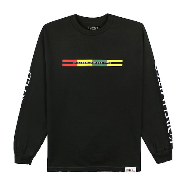 Front view of black long sleeve with Goryeo Flag colors in the front. KORE Limited - Keepin Our Roots Eternal