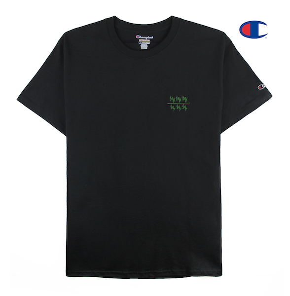Front view of a black champion tee with won over dollars embroidered on the chest.
