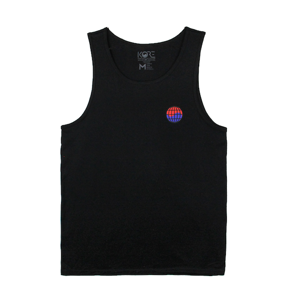 Front view of black tank with worldwide print on the front chest.