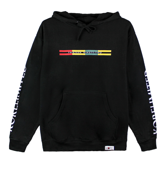 Front view of black pullover hoodie with Goryeo Flag colors in the front. KORE Limited - Keepin Our Roots Eternal