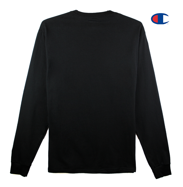 Front view image of black Champion long sleeve with Champion C logo embroidery on the sleeve and KORELIMITED's Peace screen print across the front chest. KORE - Keepin Our Roots Eternal