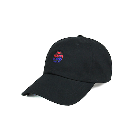 Side view of worldwide embroidered on a black dad hat.