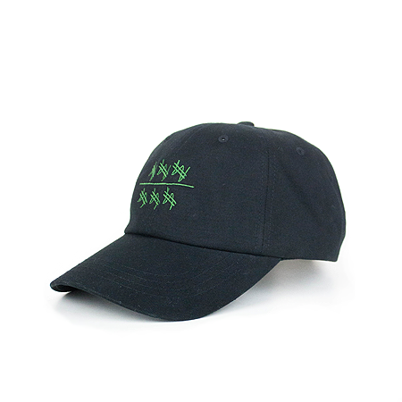 Side view of won over dollars embroidered on a black dad hat.