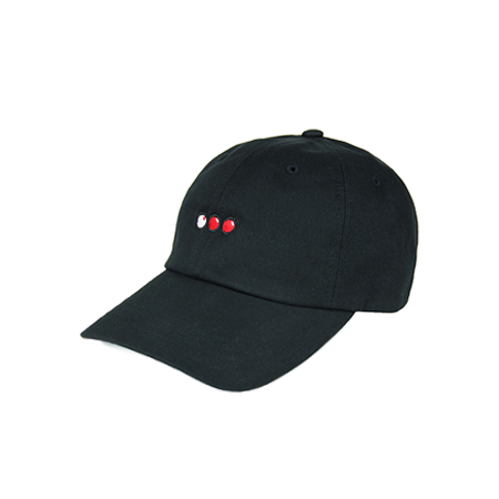 Side view of black dad hat with billiard balls embroidered.