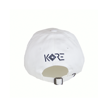 Back view of white dad hat with KORE embroidery. KORE - Keepin Our Roots Eternal