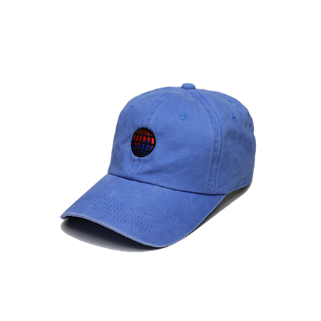 Front view of blue washed dad hat with WorldWide embroidered on the front.