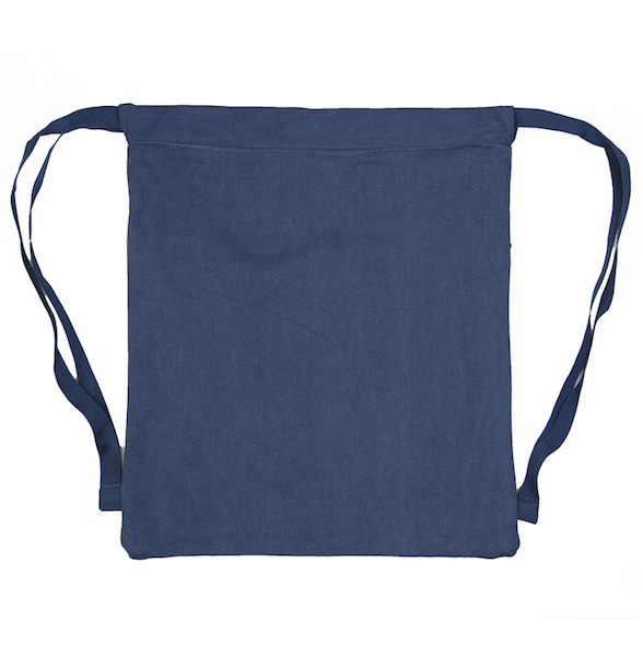 Back view of navy drawstring canvas bag with KRLTD embroidered below zipper.