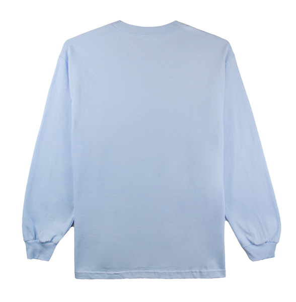 Back view of powder blue long sleeve with Rainbow design printed in the front.