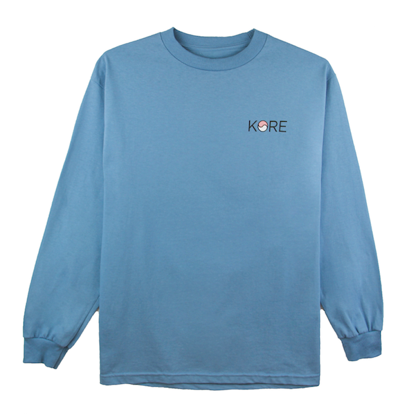 Back view of slate long sleeve with Stamp design on the back.