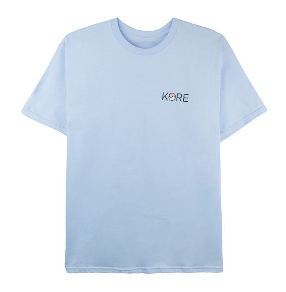 Back view of powder blue tee with Stamp design printed on the back.