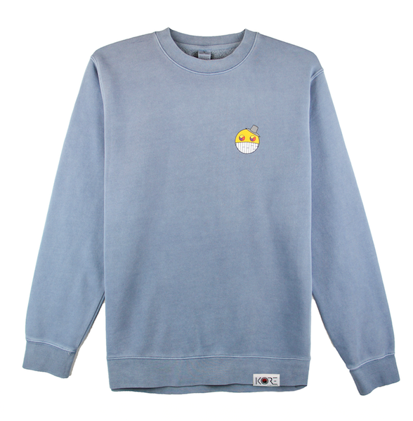 Front view of slate ComfortWash crewneck with cartoon character design on the chest.