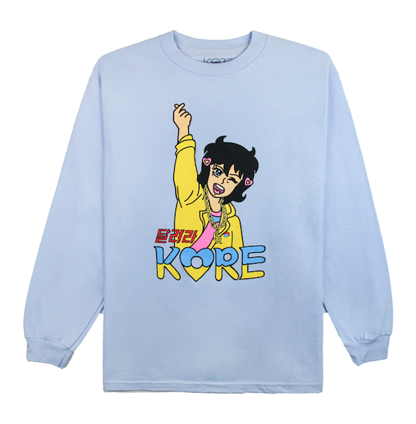 Front view of powder blue long sleeve with Hani character design printed on the front.