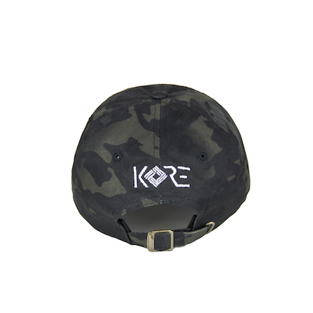 Back view of won over dollars embroidered on a camo dad hat.