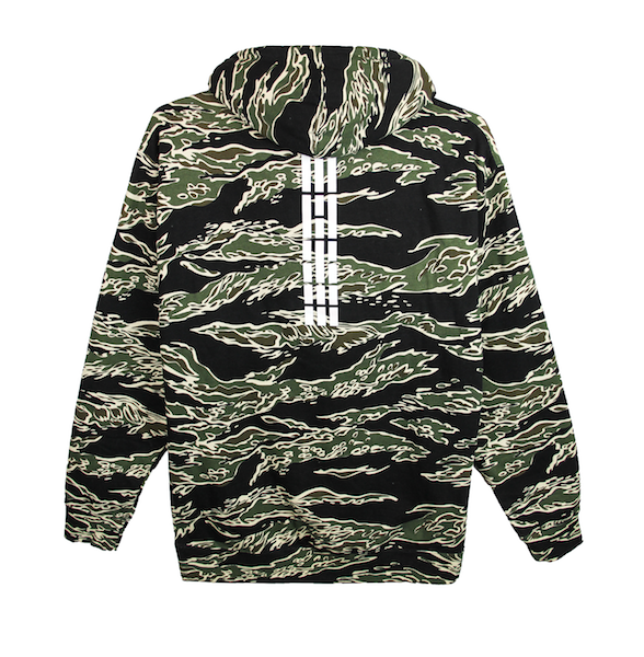 Back view of tiger camo (limited edition) pullover hoodie with white Korean flag stripes (3,4,5,6) aligned and printed at the top center of the sweater. KORE Limited - Keepin Our Roots Eternal
